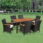 Poly Rattan Garden Wooden Dining Set With 4/6 Chairs and Table Outdoor Furniture