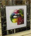 Multi coloured lips with strawberry, liquid art and mirror frame