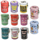 Saving Fund Lockable Tin Money Box - Student, Diet, Swearing, Holiday & More