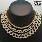 "Hip Hop Iced out Gold PT 18"" Cuban & GUCCI & 1 Row Tennis Choker Chain Necklace"