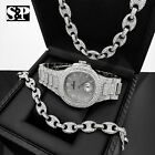 "HIP HOP WHITE GOLD PT WATCH & FULL ICED GUCCI 18"" NECKLACE & BRACELET GIFT SET  image"