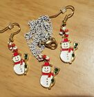 "Adorable Handmade Set: Snowman 18"" White Chain Necklacee and Matching Earrings!"