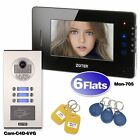 """ZOTER SECURITY 7"""" LCD Touch Key Wired Video Door Phone Intercom 2 - 12 Apartment"""