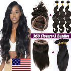 Pre Plucked 360 Lace Frontal Closure With 3 Bundles Brazilian Virgin Human Hair