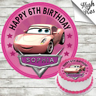 CARS CANDICE ROUND EDIBLE BIRTHDAY CAKE TOPPER DECORATION PERSONALISED