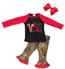 Infant Baby Girls Valentines day Outfits Fashon Leopard Ruffle Lace Set 3pcs
