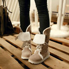 Women's Winter Snow Boots Fur Lined Platform Flange Mid Calf Boot Lace Up Shoes