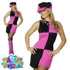 Ladies Swinging 60s Fancy Dress Costume 70s Sixties Womens Outfit with Hat