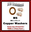 M6 Copper Washers M6 x 12 x 1 Pack size 6, 10 or 20