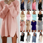 Women Winter Long Sleeve Sweater Tops Casual Knitted Pullover Jumper Mini Dress