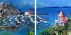 Catalina Island Painting 2 Piece Mounted Art / Stretched Canvas Sign by Haiyan