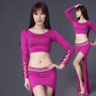 New 2017 Women Belly Dance Costumes Set Outfit 2Pics Top& Long Skirt