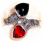 SIZE 7,8: Double HEARTS RING Onyx & Garnet Hearts Marcasite .925 STERLING SILVER