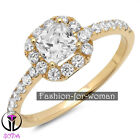 1.50Ct VVS1 Princess DIAMOND 14K Yellow GOLD Promise Halo Ring Engagement CHERYL