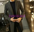 Mens Double Breasted Lapel Wool Blend Overcoat Korean Style Thick Trench Coat US