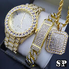 MEN'S ICED OUT HIP HOP GOLD PT WATCH & FULL ICED NECKLACE & BRACELET COMBO SET  image