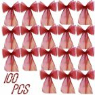 100PCS Organza Chair Cover Sash Bows Gold/Red Colors Extra Wide Wedding Party MA