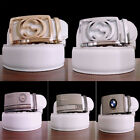 """White Leather Belt for Men Automatic Belt Buckles 44""""-48"""" 6 styles"""