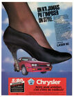 1986 CHRYSLER Laser XE Vintage Original Print AD Red car photo woman shoe Canada