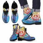Men Women Leather Peace Boots Hand Printed