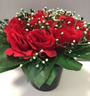 2 Christmas Memorial grave pots artificial Red Rose flower arrangement funeral