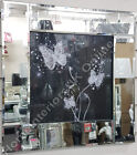 White butterflies with black stained glass, liquid art, crystals & mirror frame