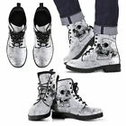 Men Women SKull Black and White Skeleton Leather Hand Printed Boots