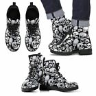 Skull Black and White Skeleton Leather Comfort Gift Fashion Hand Printed Boots