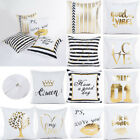 Gold Letters Printed Polyester Throw Pillow Case Square Cushion Cover Home Décor