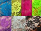 ROSE LACE soft nylon spandex stretch fabric black pink blue cream BTY