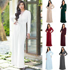 KOH KOH Long Sleeve Elegant Fall Winter Flowy VNeck Modest Gown Maxi Dress Abaya