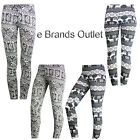 NEW WOMENS LADIES GIRLS KNITTED PRINTED WINTER STRETCHY LEGGINGS TROUSERS SIZE