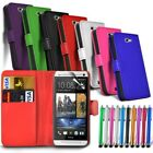 HTC Various Models Flip Wallet Book Pouch Case Cover & Big Stylus