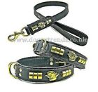 ENGLISH BULL TERRIER LEATHER DOG COLLAR AND LEAD SET BLACK PADDED BRASS