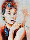 Audrey Hepburn Breakfast at Tiffany's Canvas Wall Art Movie Poster Print Icon