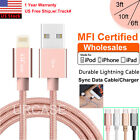 LOT MFI Certified Apple Lightning Data Sync Cable Charger f iPhone X 8 7 Plus 6s