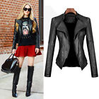 Fashion Womens PU Faux Leather Lapel Zipper Short Coat Jacket Slim Biker BLACK
