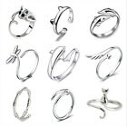925 Silver Sterling Dolphin Cat Open Knuckle Adjustable Ring Gift Simple Jewelry
