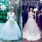 White/Ivory Lace Long Sleeve Bridal Gown Wedding Dresses Ball Gowns Custom 2-24+