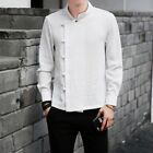 Chinese Men's Shirt Cotton Linen Long Sleeves Button Solid Coat Tops Retro New