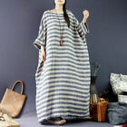 2017 Womens Long Dress Fashion 3/4 Bat-Wing Striped Arab Loose Fit Pocket