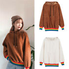 Rainbow Striped Splice Hooded Sweatshirt Fleece Soft Warm Pullover Winter Womens