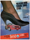 1986 CHRYSLER Laser XE Vintage Original Print AD - Woman shoe english variant
