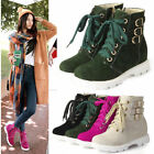 New Plus size womens ankle boots warm snow shoes faux suede lace Up Hidden Heel