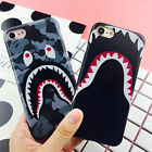 Fashion Shark Camo Camouflage Bape Back Hard Case Cover For iPhone 5S 6S 7 8Plus