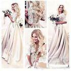 A Line Applique Lace Satin Half Sleeves Wedding Dresses Bridal Gown Custom Made