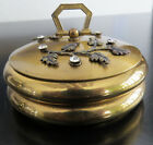 VINTAGE ROUND RHINESTONE 2 TIER TRINKET DRESSER JEWELRY GOLD BOX or COASTERS