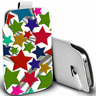 pu leather pull tab pouch case for majority Mobiles- coloured stars pouch