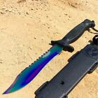 """Defender Xtreme Rainbow 12"""" Hunting Knife with Sheath Stainless 3CR13 Steel Knif"""