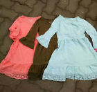 2017 Girls Kid's Dress 100%Cotton Solid Color Ruffle Dresses 5 7 8 10  12 14 16T
